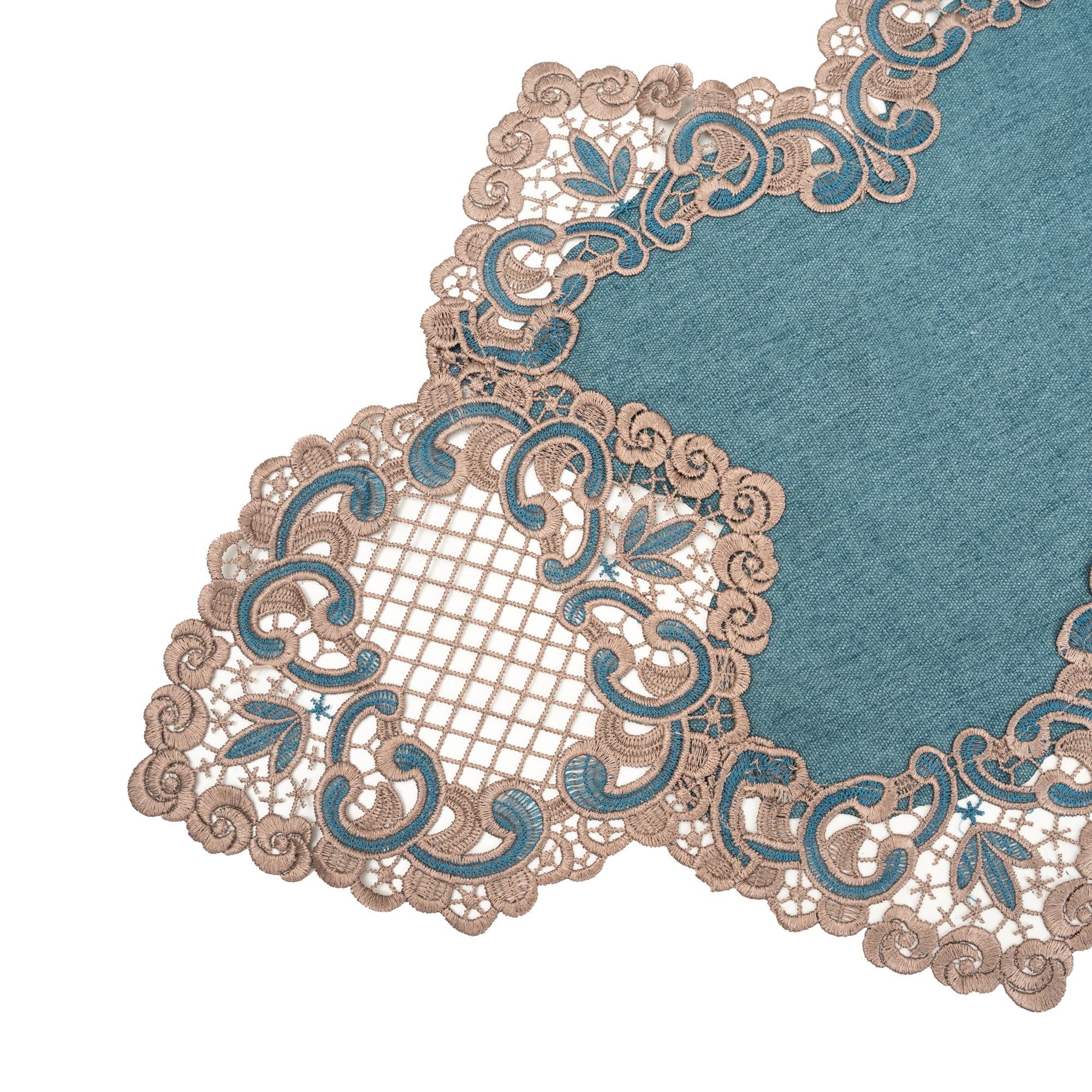 Peranakan Gold Floral Lace Rectangle Table Runner/Dresser Scarf. Multi-Size (Green)