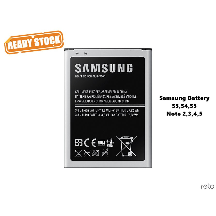 Samsung High Quality Battery For Note2 Note3 Note4 Note 5 & S3 S4 S5