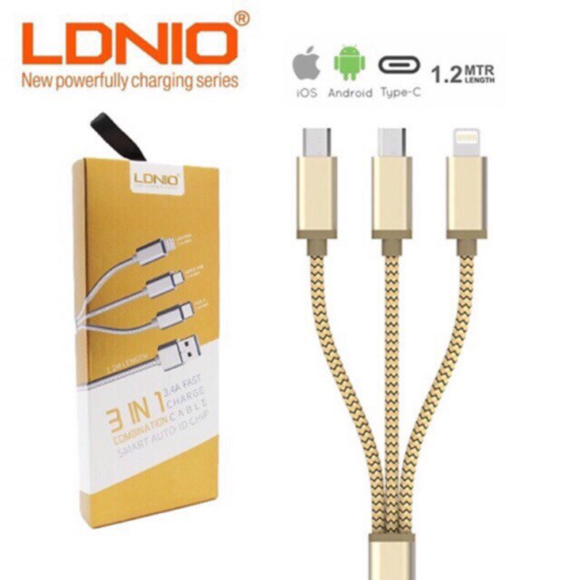LDNIO 3 IN 1 FAST CHARGE CABLE