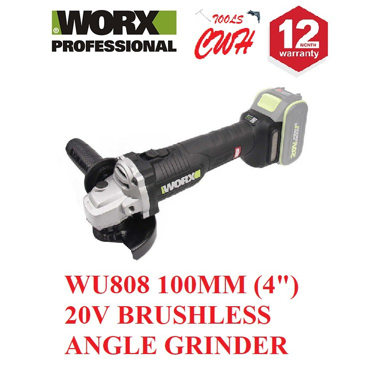 "WORX WU808 100MM (4"") 20V BL BRUSHLESS ANGLE GRINDER HEAVY DUTY GRINDER"