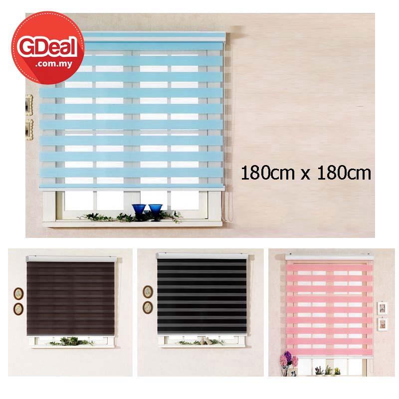 GDeal Modern Home Indoor 180cm Window Zebra Curtain Screen Roller Blind Bidai Zebra Langsir (180cm x 180cm) بيداي زيبرا