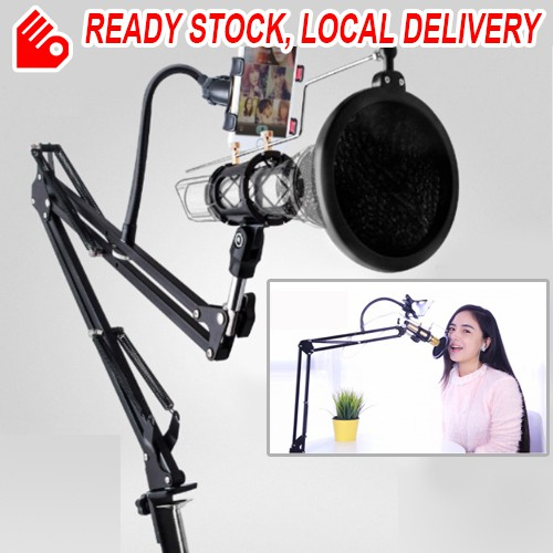 Extendable Microphone Holder Scissor Arm Stand Karaoke Recording Mobile Phone Holder Pop Filter Table Mounting Clamp