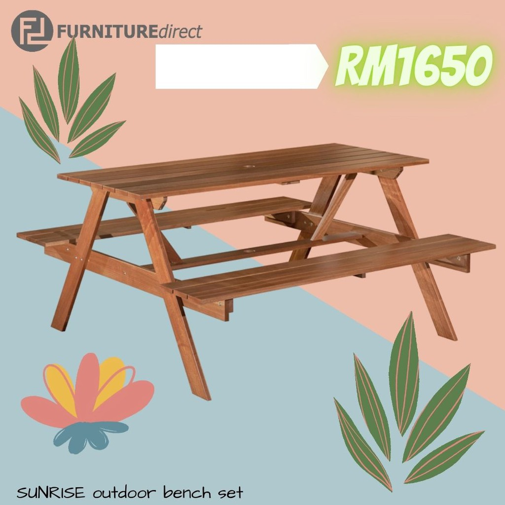 SUNRISE 5 Feet Outdoor Bench Set