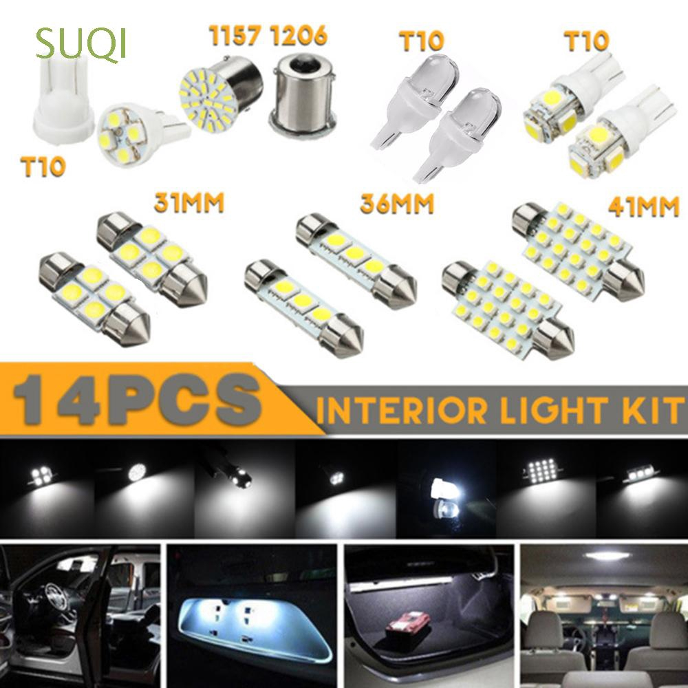 14Pcs 12V 1W 6000K White LED Bulb Bright Interior Light Package Kit Universal Parts & Accessories Lighting & Lamps
