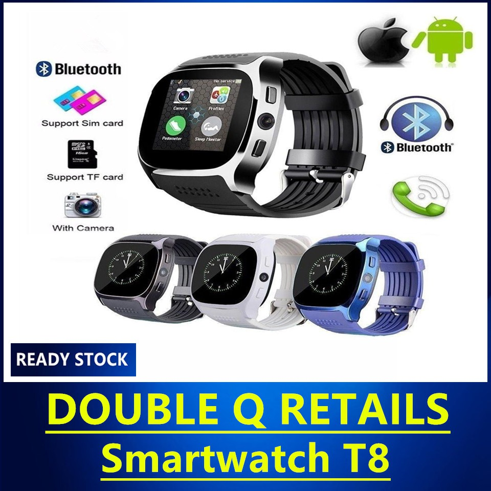 Smartwatch T8 With Camera Music Player SIM TF Card Support SYNC Call