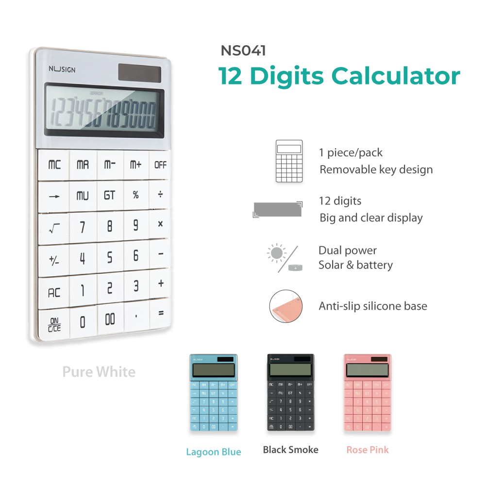Jadi NuSign Rose Pink Desk 12-digits Calculator NS041