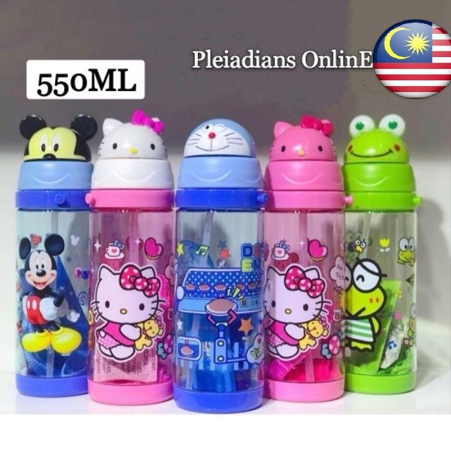 [ READY STOCK ]  550ML Hello Kitty Frog Doraemon Mickey Straw Water Bottle  Kid Baby Kitchen Jualan Murah Air Minuman