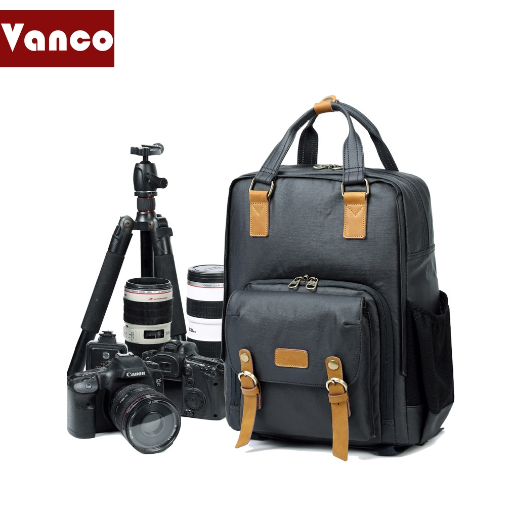 Professional Camera Backpack Nikon Multi-Function Canvas Camera Bag Shoulder Camera Bag Student Backpack Digital SLR Camera Storage Bag Color : Blue