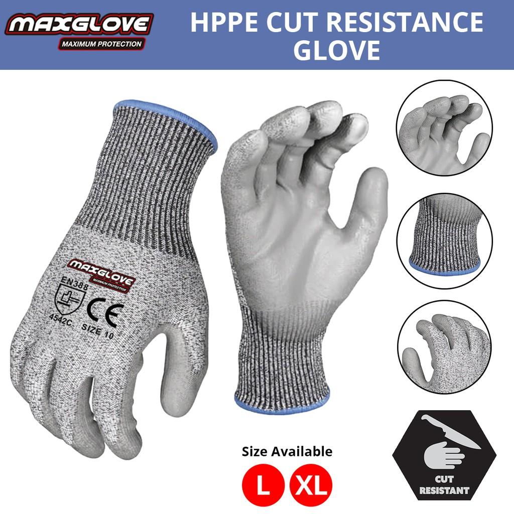 MaxGlove Cut Resistant Shell with PU Coated Gloves (Sarung Tangan Anti-Pisau)