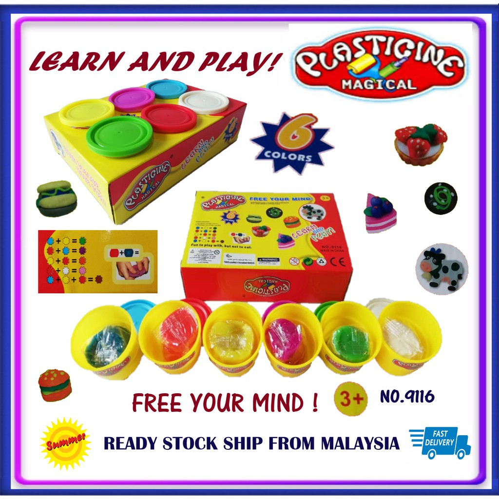 Plasticine Magical 6 Pack Colors Clay Doh Learn to Play Dough
