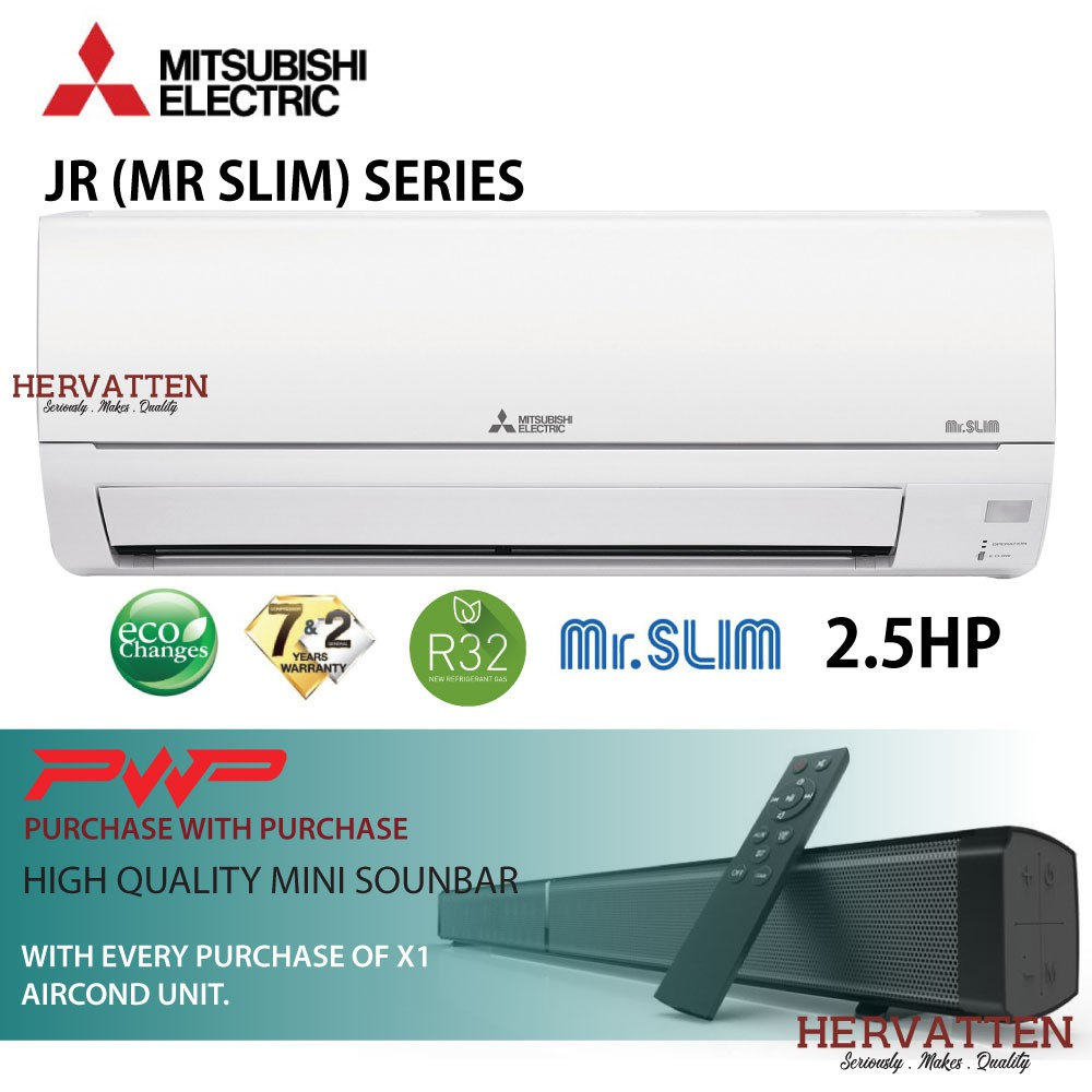 Mitsubishi Electric Mr Slim Wall Mounted Non-Inverter R32 2.0HP-2.5HP (PWP Sound Bar) MS-JR18VF MS-JR24VF