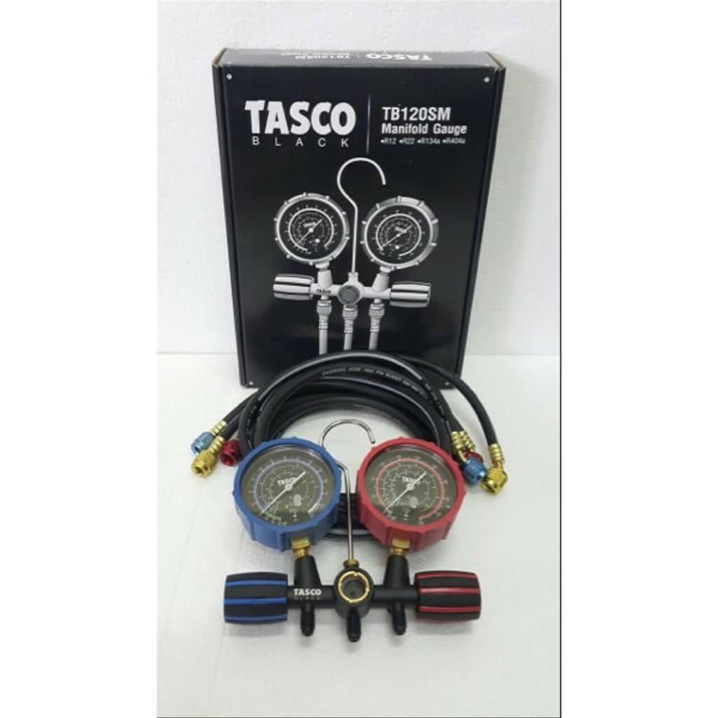 TASCO BLACK MANIFOLD GAUGE (R12, R22, R134A & R404) C/W SIGHT GLASS & 150CM HOSES  MODEL : TB120SM