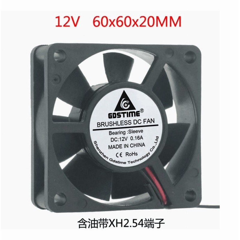 12V 2Pin 6cm 60mm 60x60x20mm DC Brushless Computer Cooling Industry Fan