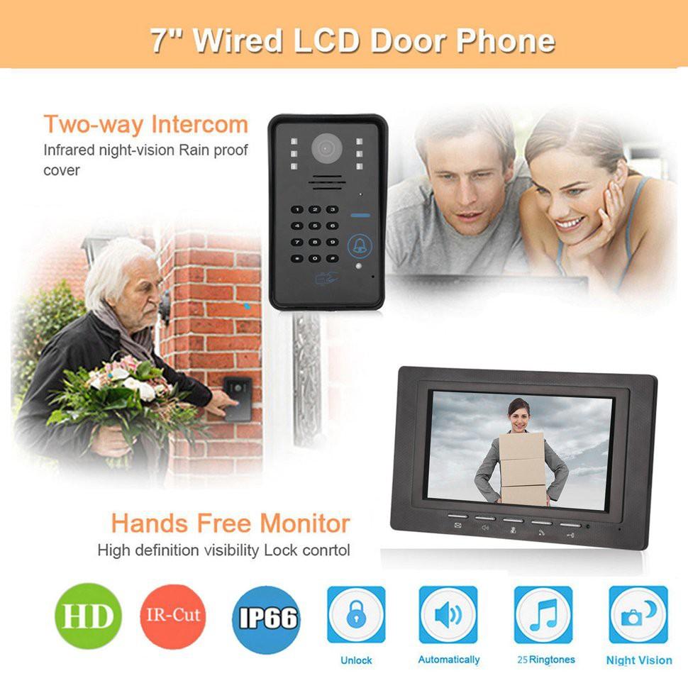 7 Inch Rfid Password Monitor Video Door Phone Intercom Doorbell With Ir Camera Panasonic Cordless Kx Tg6811 Wireless Power Backup