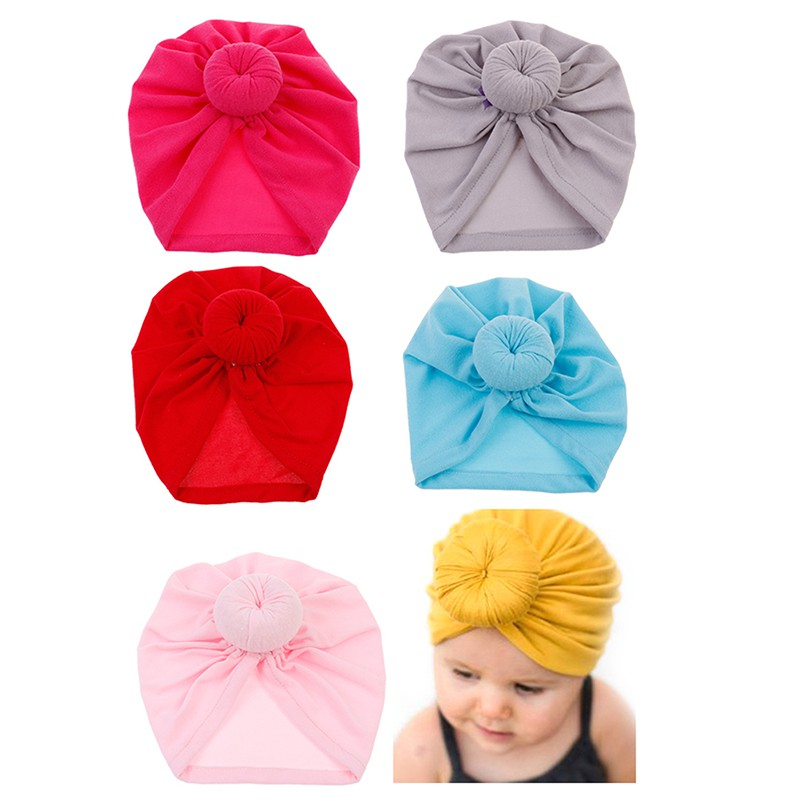 56af78fe93b032 Color toddler infant baby kids cotton turban knot hat head wrap headband