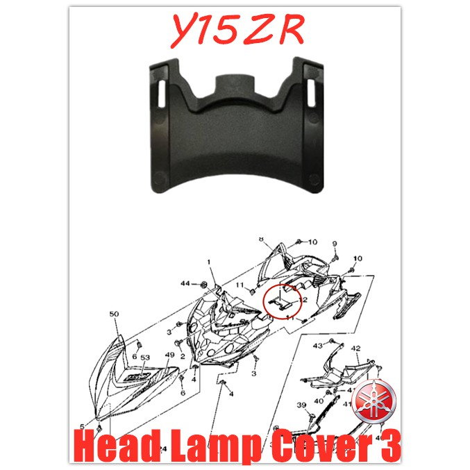 100% ORIGINAL YAMAHA Y15ZR,Y15Z,Y15 HANDLE MAINPIPE PANEL INNER SMALL COVER HEAD LAMP COVER CAP 3 HLY【B17-F843J-00】