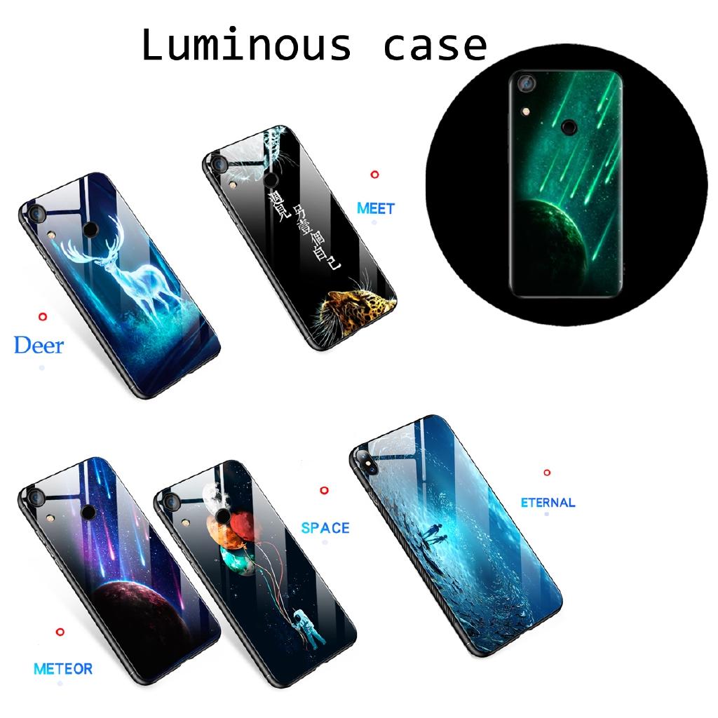 Casing Vivo Y93 Y95 Y97 Y66 Y67 Y75S Z1 X9S V15 S1 Luminous Glass case Soft  Case
