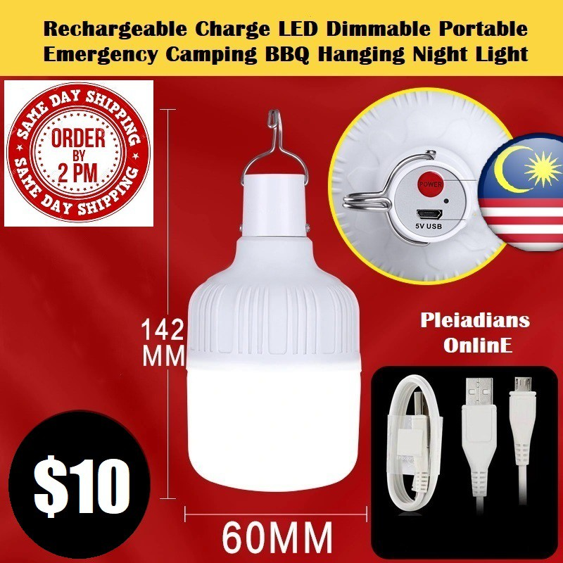 [ READY STOCK ]  Usb Rechargeable Charge LED Lamp Dimmable Portable Emergency Outdoor Light Camping BBQ Hanging Bulb