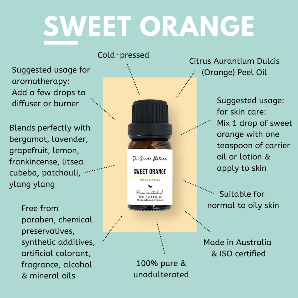 The Seeds Natural - Sweet Orange Pure Essential Oil - Orange Essential Oil  - Made in Australia - ISO Certified
