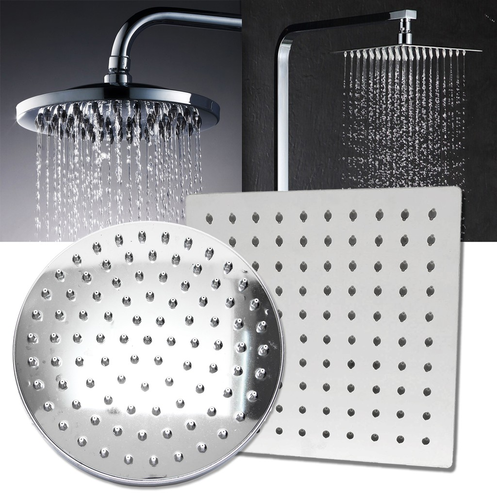 8 Square Stainless Steel Rain Shower Head Rainfall Bathroom Top Sprayer Faucet