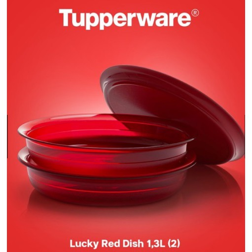 Tupperware Lucky Red Dish (2)1.3L