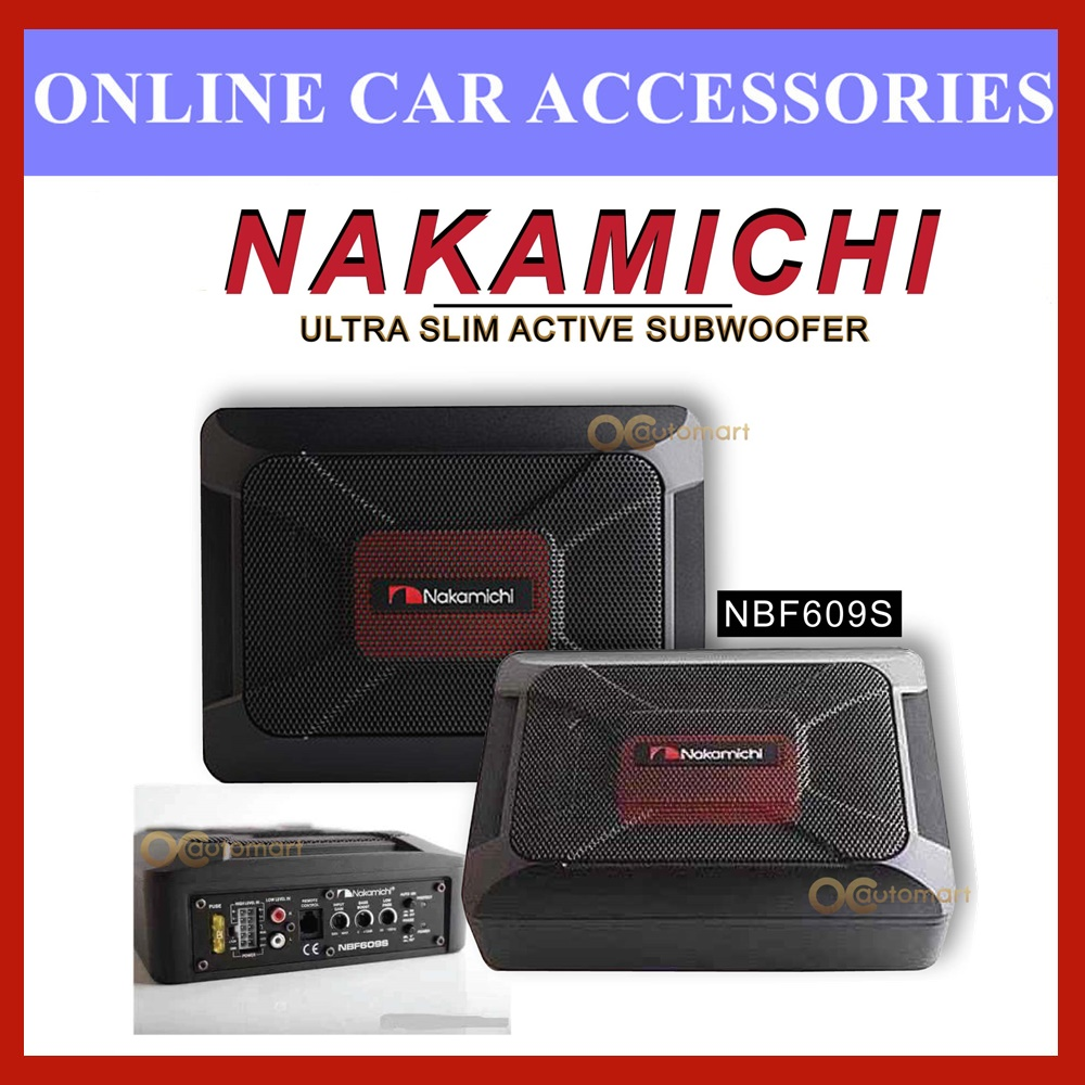 """NAKAMICHI NBF609S 6X8"""" 100W Built In Amplifier Car Underseat Active Subwoofer"""