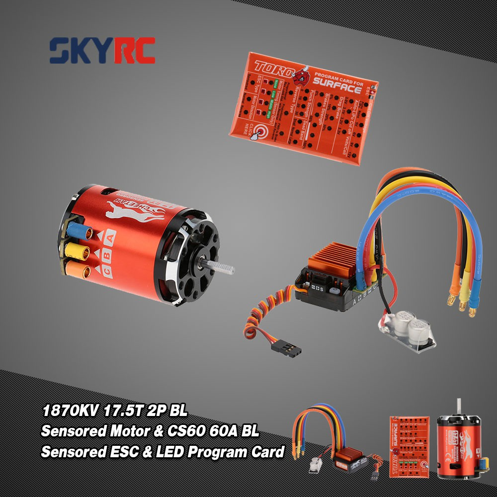 SkyRC 1870KV 17 5T 2P Brushless Sensored/Sensorless Motor & CS60 60A  Brushless
