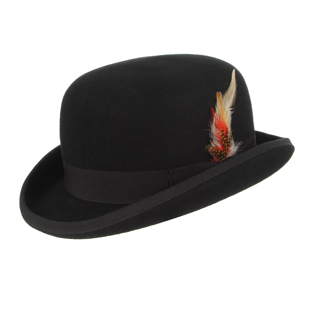 ce5bb1344 Gentleman Bowler Hat Men Feather Decor Wool Felt Fedora Hat