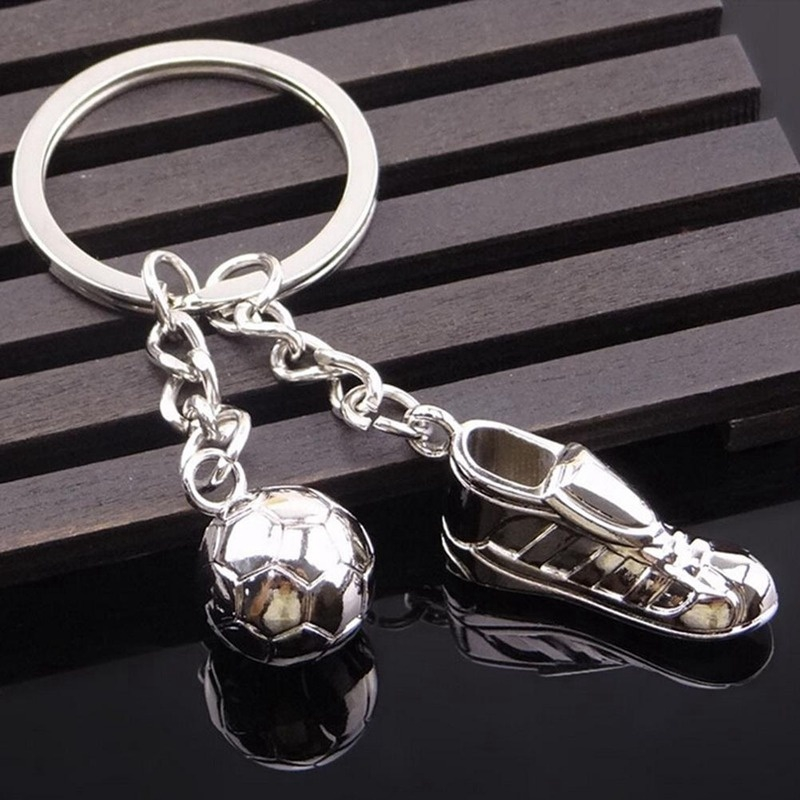Stainless Steel Metal Keychain Unique Soccer Shoes Football Key Pendant Gift SP