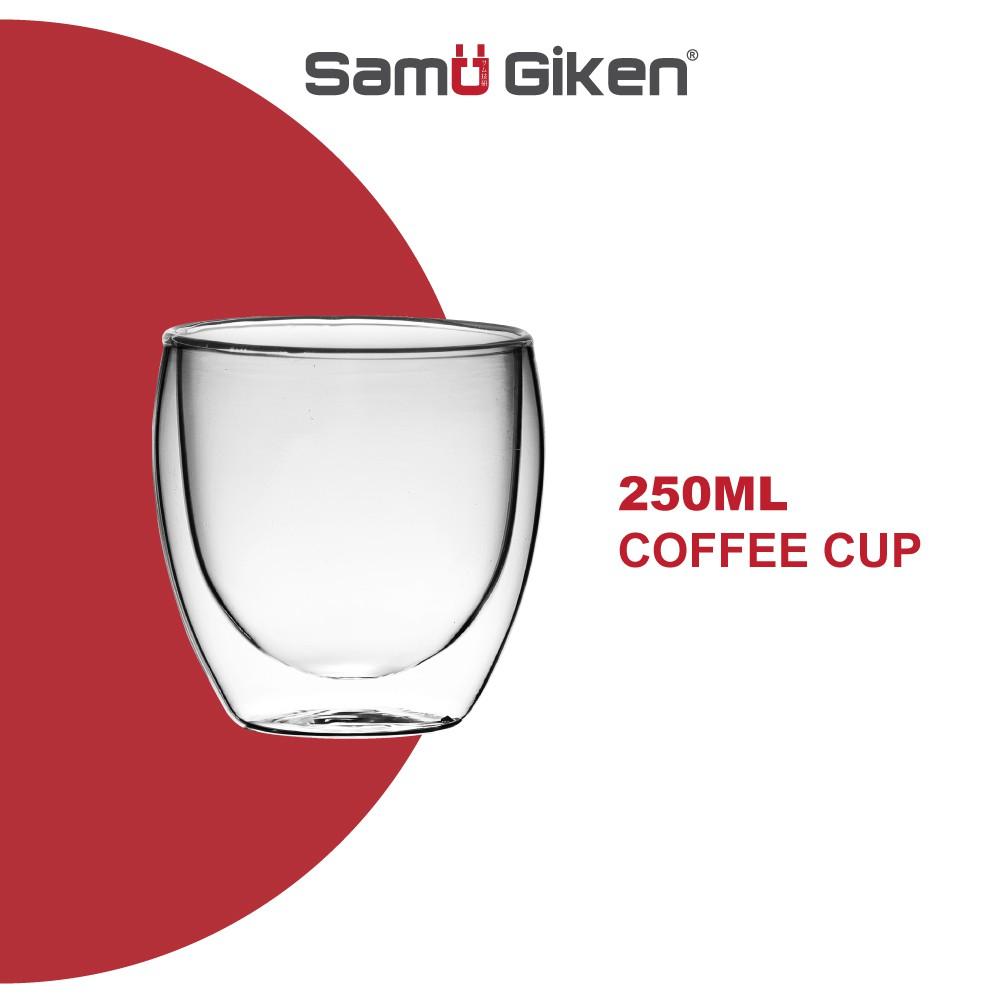 Samu Giken Double Layer Wall Coffee / Tea Glass Cup Mug Cup Heat Resistant Milk Cup