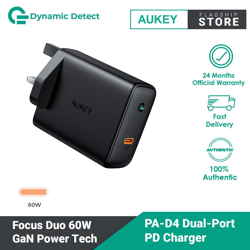 Aukey PA-D4 Focus USB-C Power Delivery Charger with GaN Power Tech (60W)