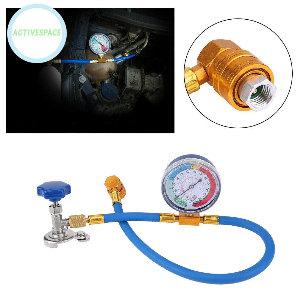 1x R134A Car Air Conditioning Refrigerant Recharge Measuring Kit Hose Gas Gauge