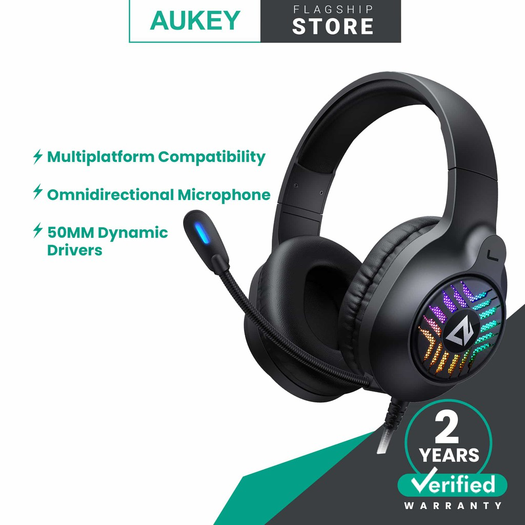 Aukey GH-X1 RGB Gaming Over Ear Headset with Mic