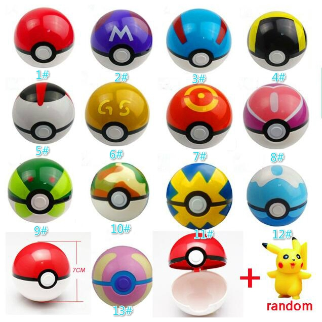 Pokemon 1Pcs Ball + 1pcs Free Random Figures Anime Model Toy