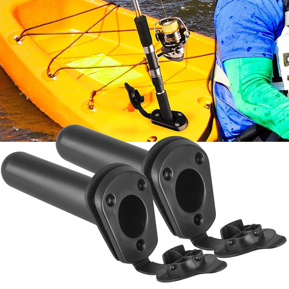 2Pcs Flush Mount Rod Holder Rack Bracket & Cap Gasket for