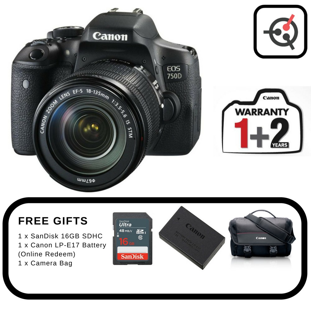 Canon Eos 750d Dslr Camera With Ef S 18 55mm F 35 56 Is Stm Lens 700d Kit 135mm Shopee Malaysia