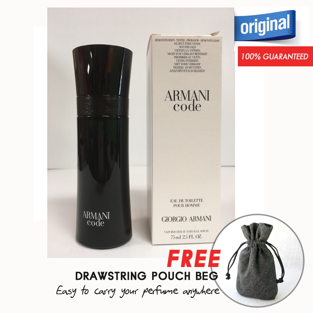 Armani Code 75ml EDT TESTER Perfume (Authentic) + FREE Pouch Bag