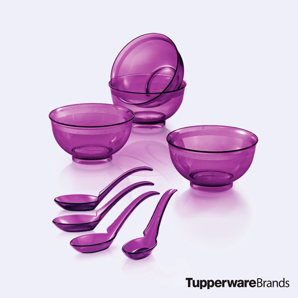 Tupperware Purple Royale Crystalline Bowl with Spoon 1set / 4pieces