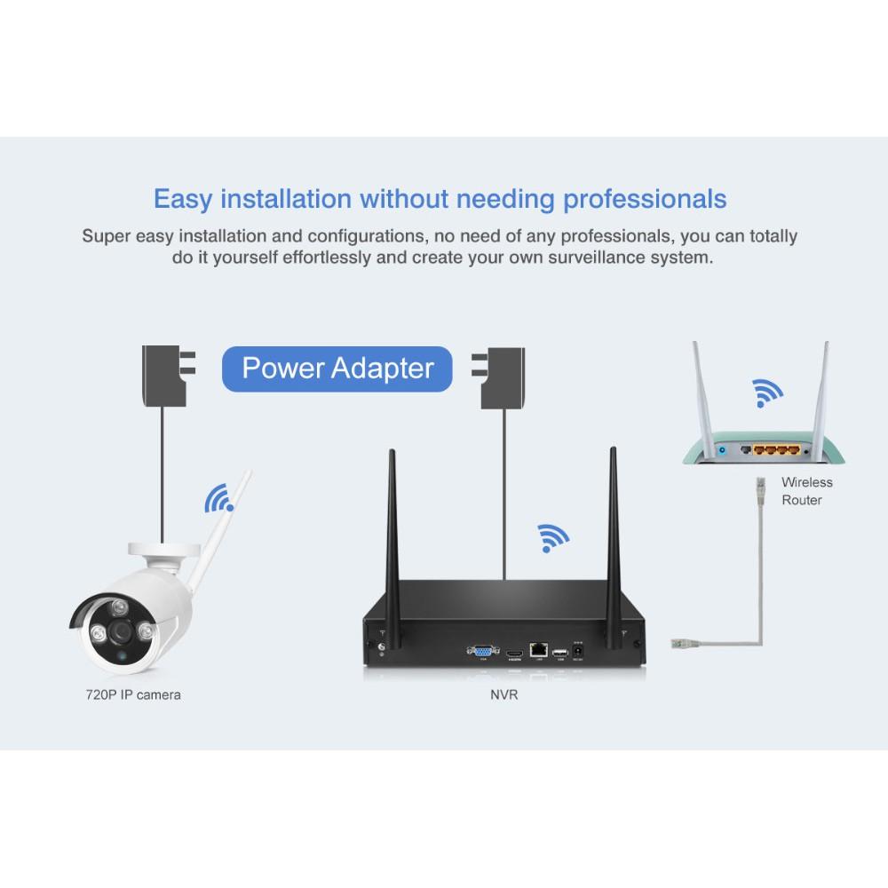 BuzzTech 4CH Wifi NVR Kit CCTV Outdoor HD 720/960/1080P IP