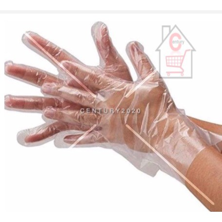 RIMEI Food Grade Disposable Glove Film, Household Kitchen and Catering Transparent PE Plastic Gloves WF 150PCS
