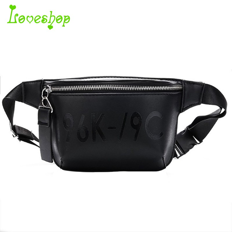 e434e38a12b Pu Leather Black Waist Bag Women Fanny Pack Fashion Belt Bag Female Mobile  Packs