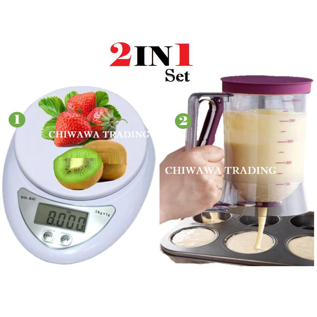 【2 IN 1】Electronic Digital Kitchen Scale 5kg + Batter Dispenser Mix Pastry Jug