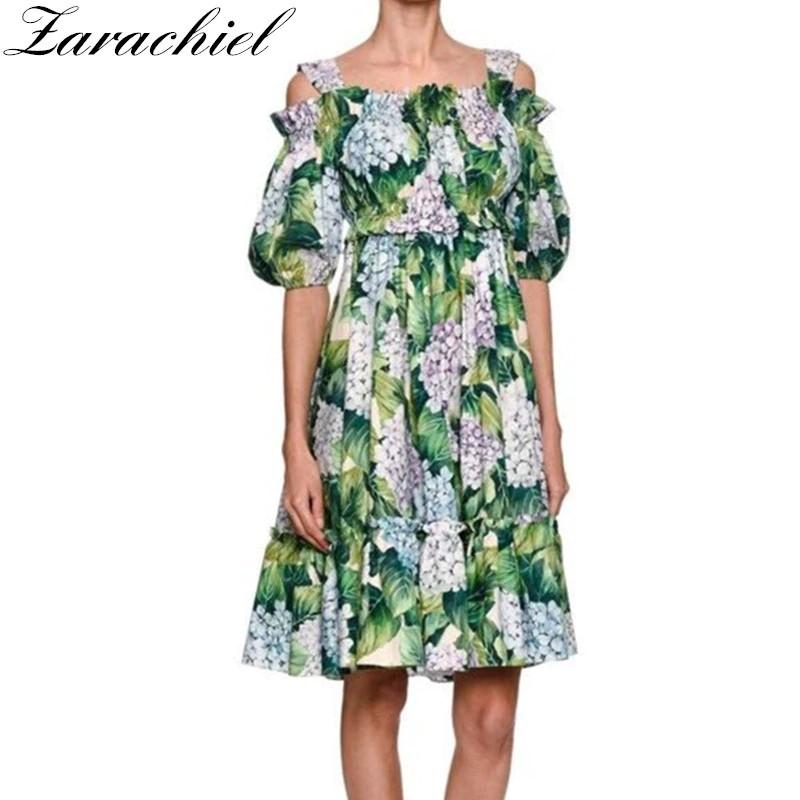 e3b5e34f379b4 VIGOOS New 2019 Runway Hydrangea Floral Summer Dress Women's Cold ...