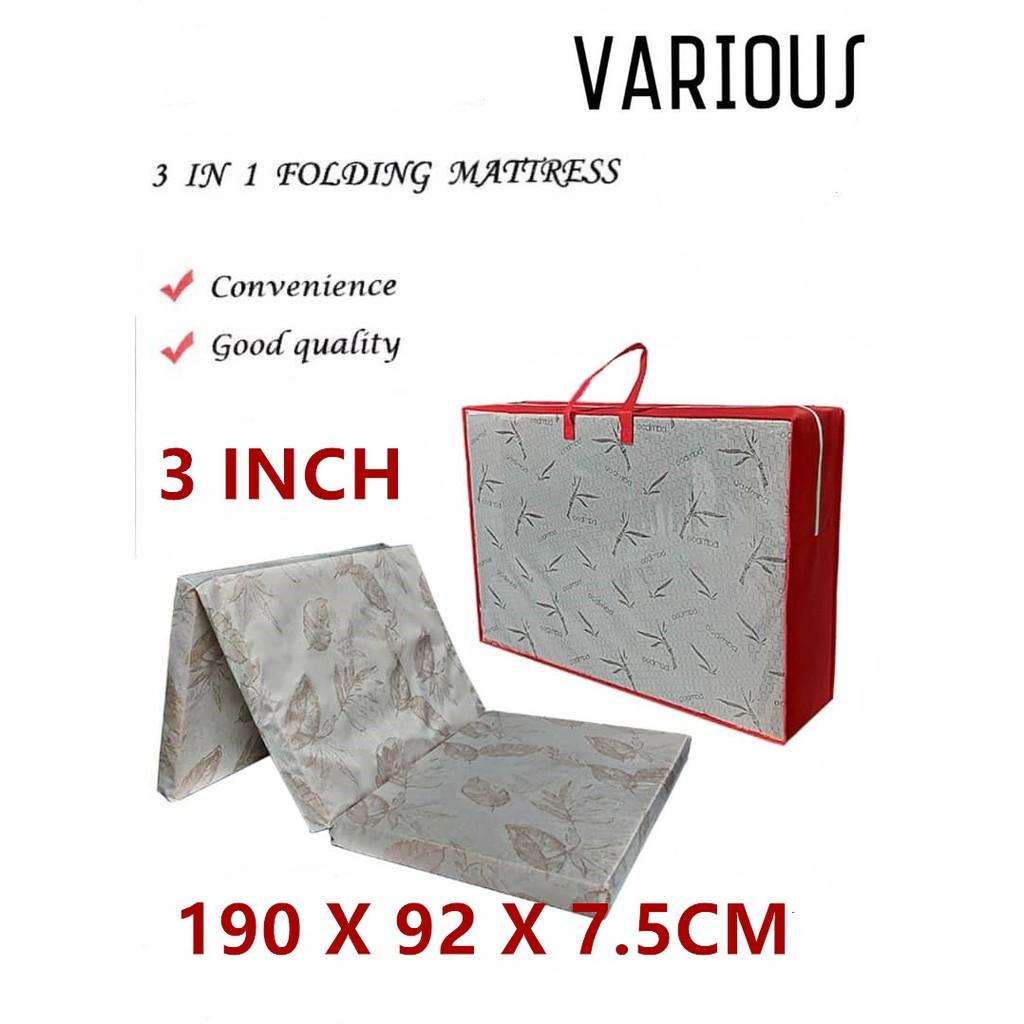 (READY STOCK) Three Fold High-GradeSynthetic Rebond Mattress Tilam Katil with Carry Bag
