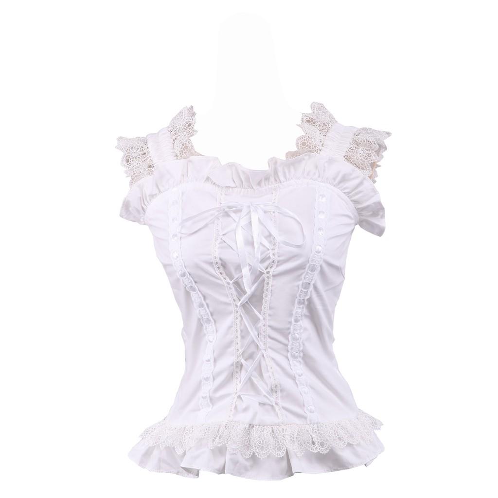 4daaf5230bf9fa antaina White Cotton Ruffle Lace Classical Victorian Sweet Lolita Shirt  Blouse