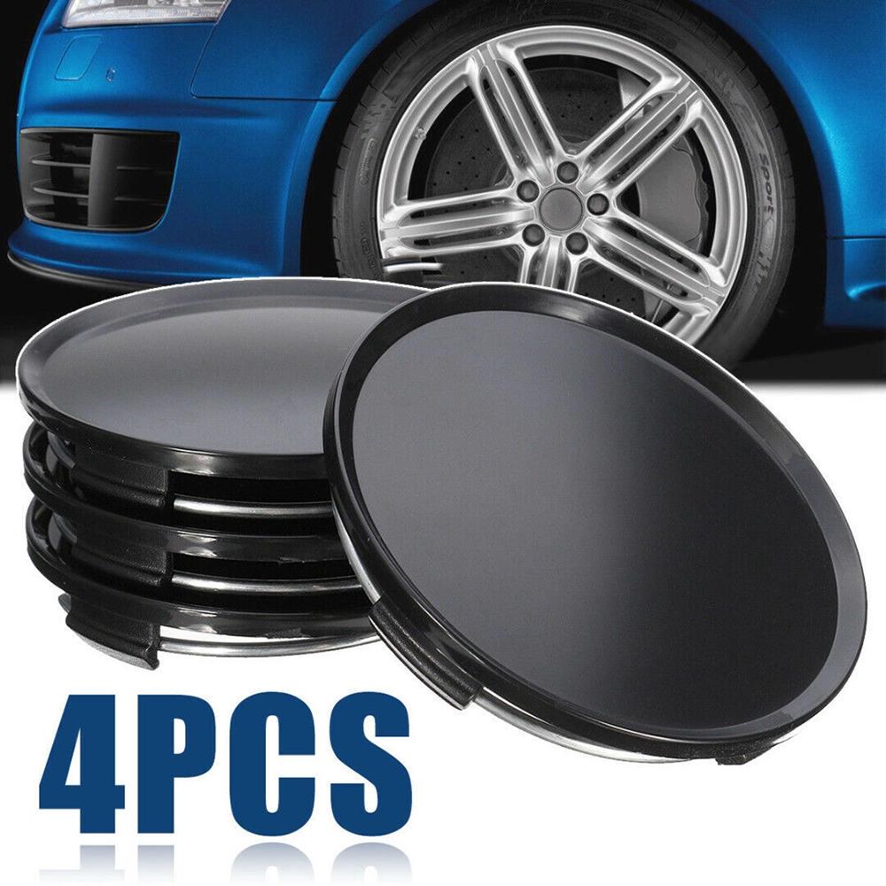 Set of 4 Black Center Caps 56.5mm Wheel Cover Hub Rim Car Curve Racing Universal