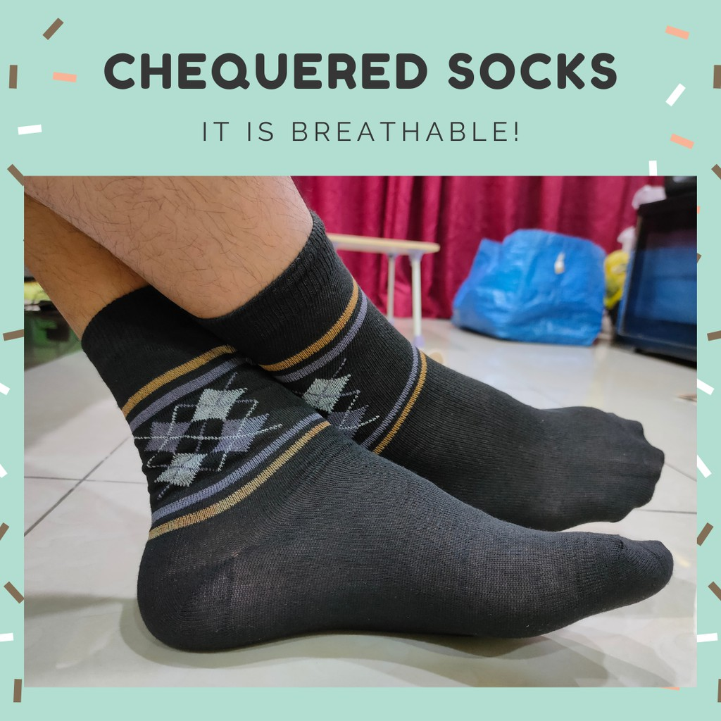 [2 PATTERNS] CHEQUERED BLACK SOCKS DISPOSABLE THIN ONE TIME USE