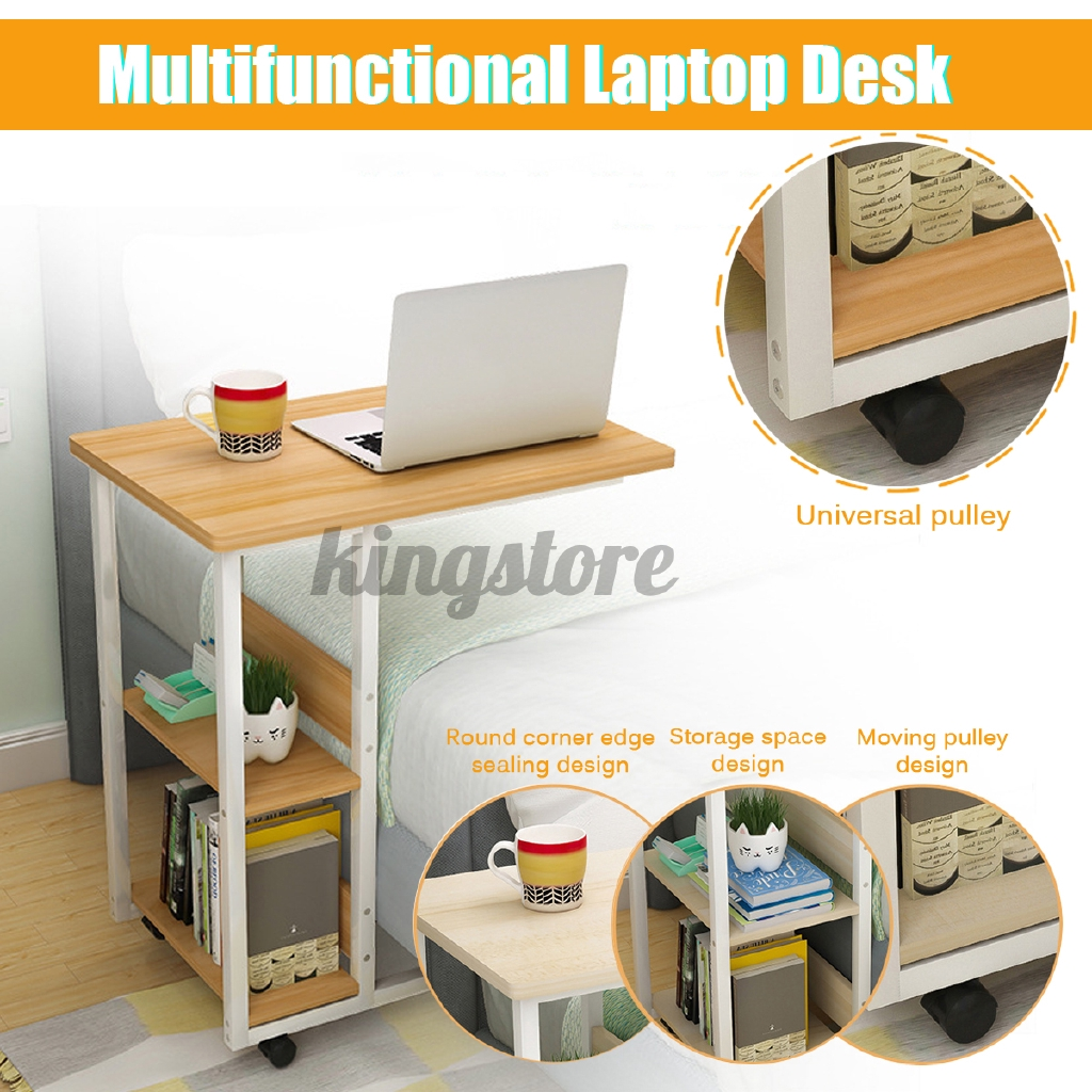 Mobile Rolling Computer Desk Small Space Saver Desk Laptop Pc Printer Table Home Shopee Malaysia