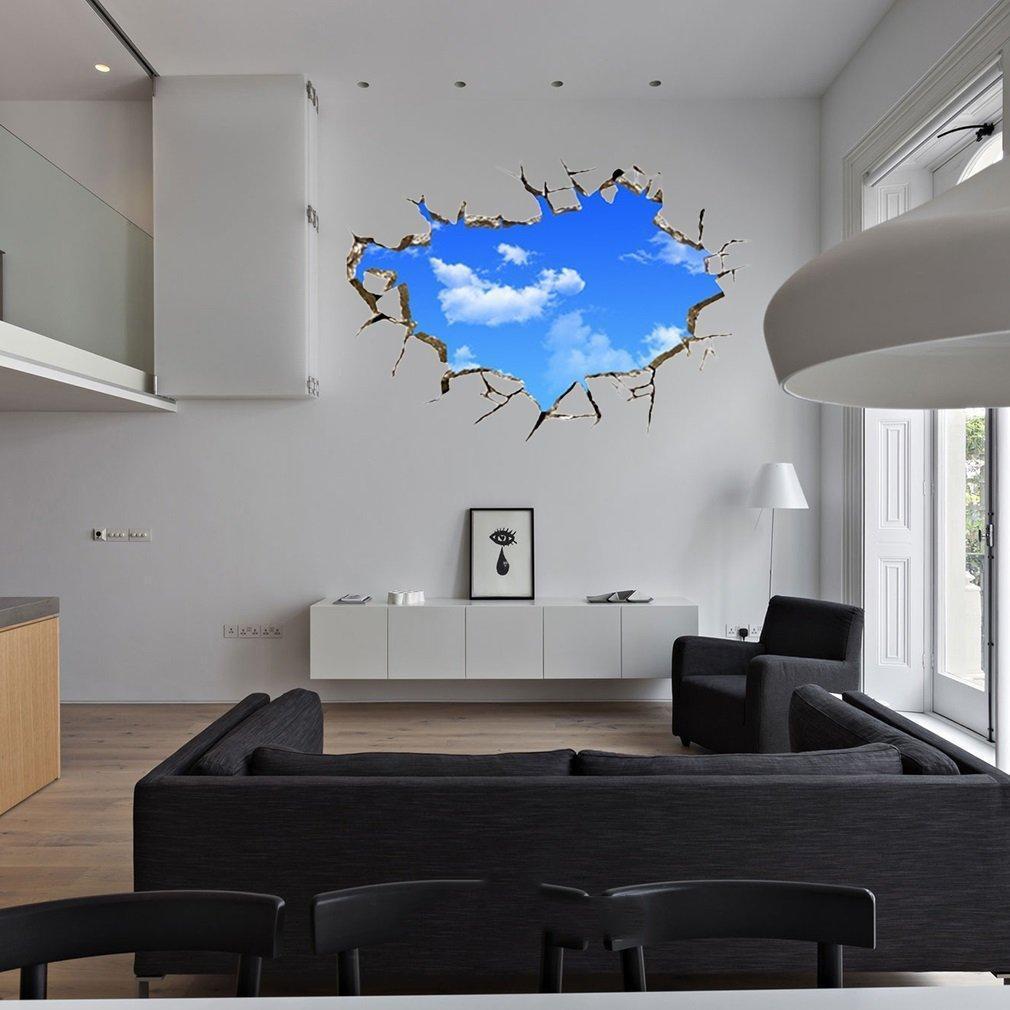 Blue Sky Cloud Brick Crack 20D Ceiling Home Office Decor Sticker ...