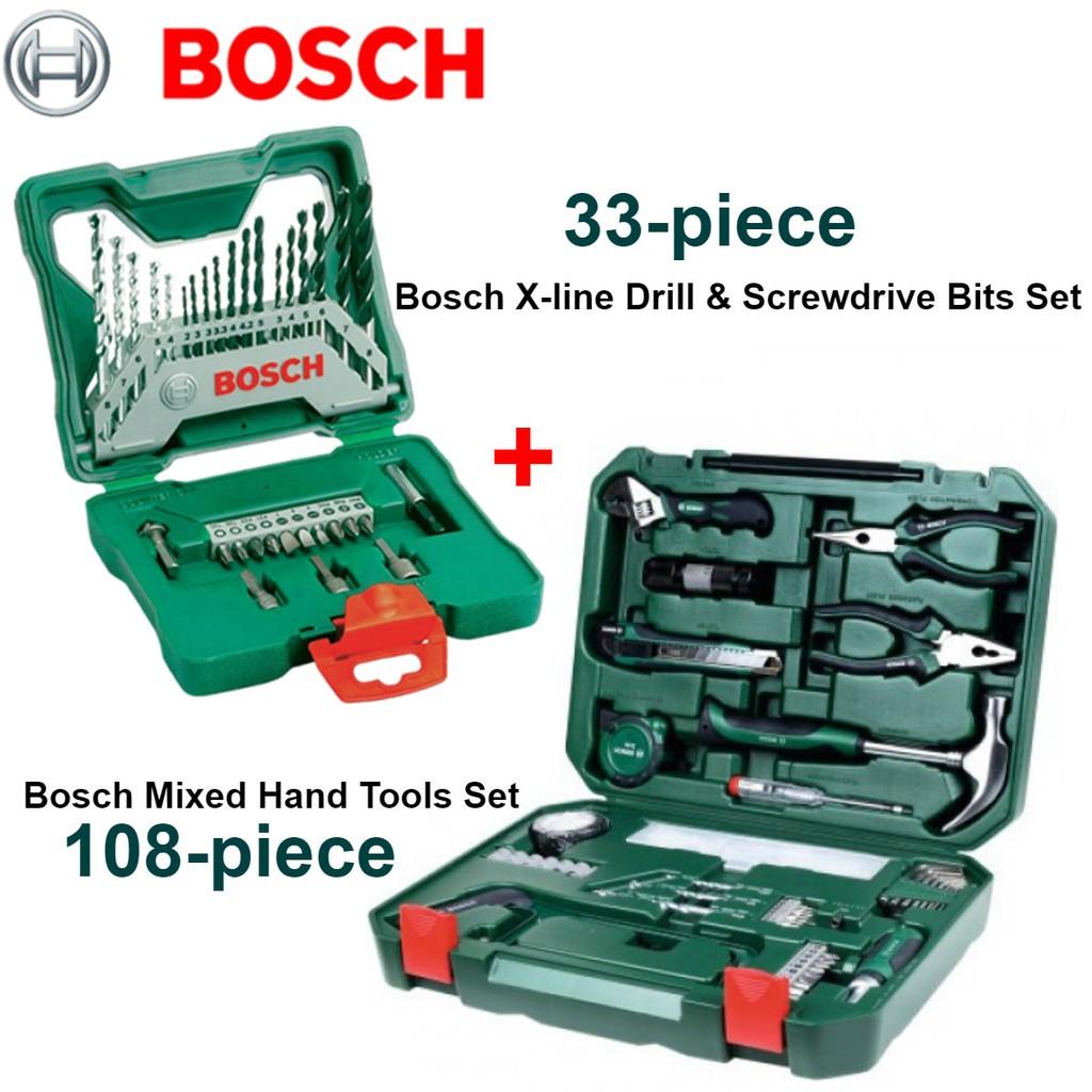 Magnifiek Bosch 33-piece + 108-piece X-line Drill Bit Set & Mixed Hand Tools CP02